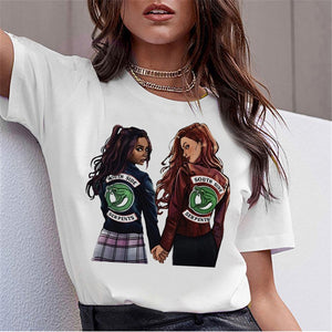 LUSLOS SOUTH SIDE SERPENTS T Shirt Women Sumemr Riverdale Plus Size O-neck Tshirt Snake Print Homme Streetwear Cool T-shirts