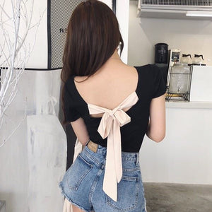 Fashion Women Slim T Shirt Sexy Back Lace Up Bow TShirt Women Slash Neck Short Sleeve female T-shirt Women Tops befree