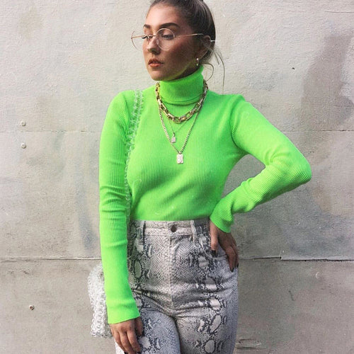 Solid Turtleneck Slim Fitted Neon T-Shirt Women Long Sleeve Tops Tee Shirt 2019 Autumn Tops Womens Clothing Casual Tee Shirt