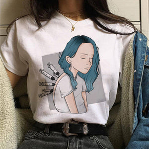billie eilish women t shirt funny korean style ulzzang I Am A Bad Guy tshirt Casual summer harajuku female t-shirt short sleeve