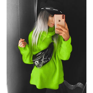 BOOFEENAA Fashion Turtleneck Oversized Sweater Winter Clothes Women Neon Green Pink Orange Pullover Ladies Knit Tops C54-AF91