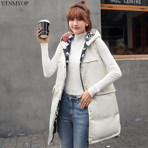 YTNMYOP Winter Vest Women Long Printing Waistcoat Two Sides Can Wear Hooded Vest Gilet Cotton Padded Sleeveless Jacket Coat Tops