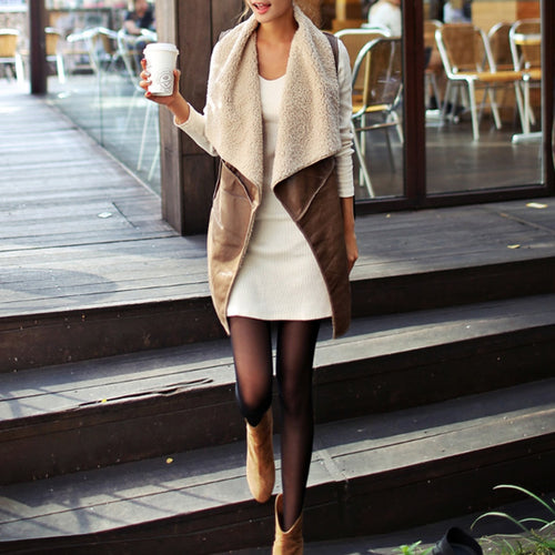 Comfortable Autumn Spring Women Faux Fur Vest Lady Warm Cream Waistcoat Long Gilet Jacket Outerwear