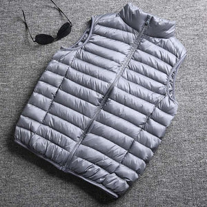 Winter New Men White Duck Down Vest Ultralight Sleeveless Vest Jacket Fashion Stand Collar Men Large Size Loose Vest