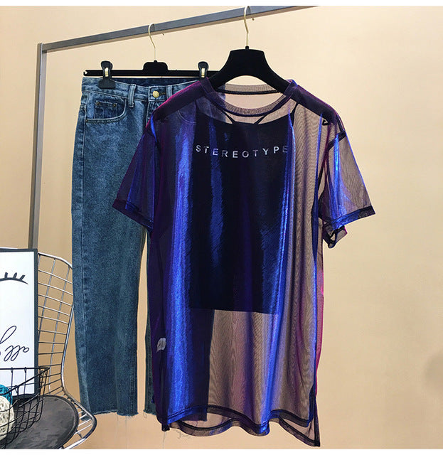 Network red with purple mesh short sleeve T-shirt female summer 2019 new strange taste girl hip-hop clothes MA5
