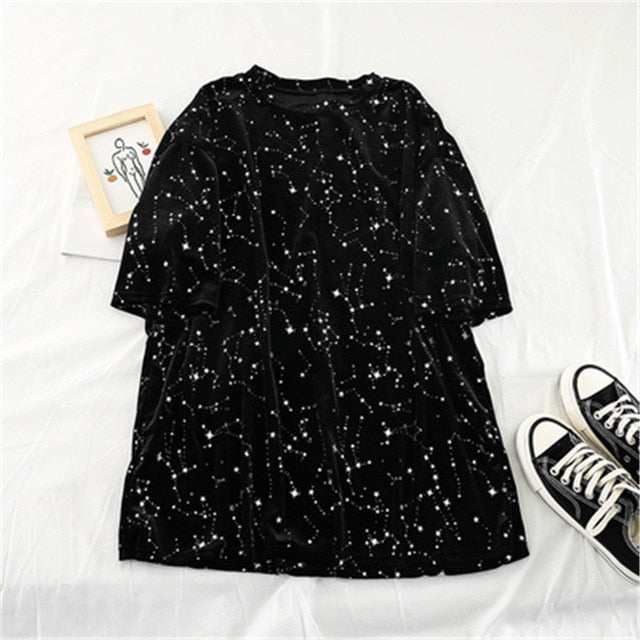 Loose Velvet Gilded Short-sleeved T-shirt Vintage Stars Printed Retro Streetwear Casual Plus Size Harajuku Tee Shirt Tee Female