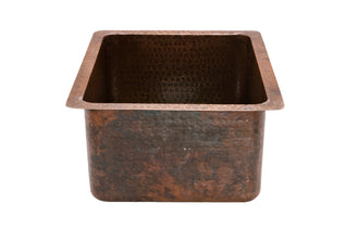 "16"" Gourmet Rectangular Hammered Copper Bar/Prep Sink"