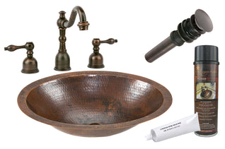 Small Oval Under Counter Hammered Copper Sink with ORB Widespread Faucet, Matching Drain and Accessories