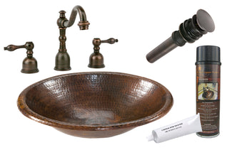 Small Oval Self Rimming Hammered Copper Sink with ORB Widespread Faucet, Matching Drain and Accessories