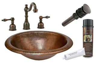 Wide Rim Oval Self Rimming Hammered Copper Sink with ORB Widespread Faucet, Matching Drain and Accessories