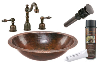 Oval Under Counter Hammered Copper Sink with ORB Widespread Faucet, Matching Drain and Accessories
