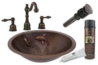 Oval Under Counter Hammered Copper Sink w/ Two Small Koi Fish Design with ORB Widespread Faucet, Matching Drain and Accessories