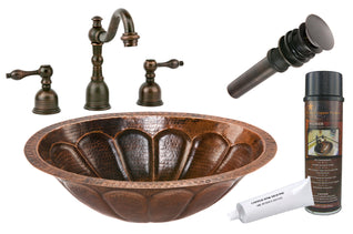 Oval Sunburst Under Counter Hammered Copper Sink with ORB Widespread Faucet, Matching Drain and Accessories