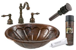 Oval Sunburst Self Rimming Hammered Copper Sink with ORB Widespread Faucet, Matching Drain and Accessories