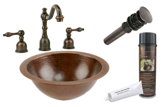 Small Round Under Counter Hammered Copper Sink with ORB Widespread Faucet, Matching Drain and Accessories