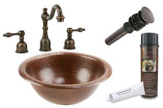 Small Round Self Rimming Hammered Copper Sink with ORB Widespread Faucet, Matching Drain and Accessories