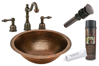 Round Under Counter Hammered Copper Sink with ORB Widespread Faucet, Matching Drain and Accessories