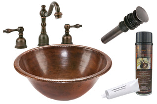 Round Self Rimming Hammered Copper Sink with ORB Widespread Faucet, Matching Drain and Accessories