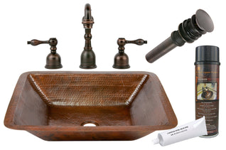 Rectangle Under Counter Hammered Copper Sink with ORB Widespread Faucet, Matching Drain and Accessories