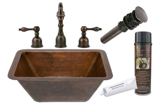 Rectangle Hammered Copper Sink with ORB Widespread Faucet, Matching Drain and Accessories