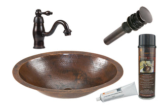Small Oval Under Counter Hammered Copper Sink with ORB Single Handle Faucet, Matching Drain and Accessories