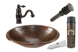 Small Oval Self Rimming Hammered Copper Sink with ORB Single Handle Faucet, Matching Drain and Accessories