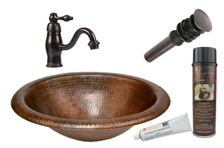 Wide Rim Oval Self Rimming Hammered Copper Sink with ORB Single Handle Faucet, Matching Drain and Accessories