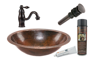 Oval Under Counter Hammered Copper Sink with ORB Single Handle Faucet, Matching Drain and Accessories