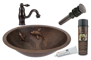 Oval Under Counter Hammered Copper Sink w/ Two Small Koi Fish Design with ORB Single Handle Faucet, Matching Drain and Accessories