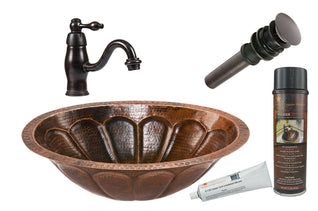 Oval Sunburst Under Counter Hammered Copper Sink with ORB Single Handle Faucet, Matching Drain and Accessories