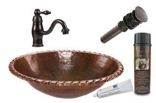 Oval Roped Rim Self Rimming Hammered Copper Sink with ORB Single Handle Faucet, Matching Drain and Accessories