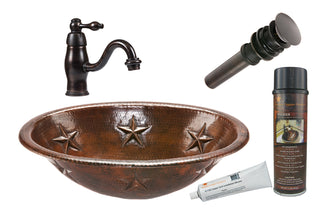 Oval Star Self Rimming Hammered Copper Sink with ORBSingle Handle Faucet, Matching Drain and Accessories