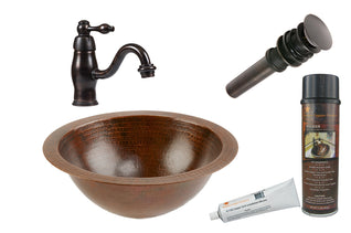 Small Round Under Counter Hammered Copper Sink with ORB Single Handle Faucet, Matching Drain and Accessories