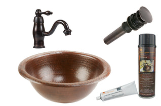 Small Round Self Rimming Hammered Copper Sink with ORB Single Handle Faucet, Matching Drain and Accessories