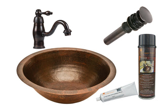 Round Under Counter Hammered Copper Sink with ORB Single Handle Faucet, Matching Drain and Accessories