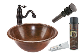 Round Self Rimming Hammered Copper Sink with ORB Single Handle Faucet, Matching Drain and Accessories