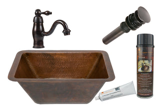 Rectangle Hammered Copper Sink with ORB Single Handle Faucet, Matching Drain and Accessories