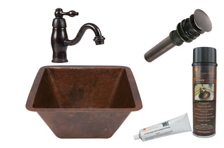 Square Hammered Copper Sink with ORB Single Handle Faucet, Matching Drain and Accessories