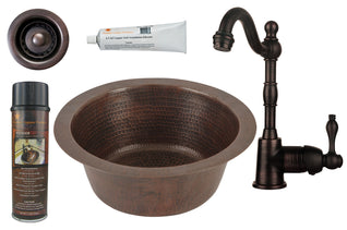 "12"" Round Hammered Copper Bar/Prep Sink, ORB Single Handle Bar Faucet, 2"" Strainer Drain and Accessories"