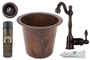 "12"" Round Hammered Copper Champagne Bar/Prep Sink, ORB Single Handle Bar Faucet, 2"" Strainer Drain and Accessories"
