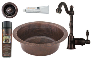 "14"" Round Hammered Copper Bar/Prep Sink, ORB Single Handle Bar Faucet, 2"" Strainer Drain and Accessories"