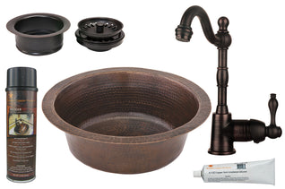 "14"" Round Hammered Copper Bar/Prep Sink, ORB Single Handle Bar Faucet, 3.5"" Garbage Disposal Drain and Accessories"