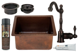 "16"" Gourmet Rectangular Hammered Copper Bar/Prep Sink, ORB Single Handle Bar Faucet, 3.5"" Garbage Disposal Drain and Accessories"