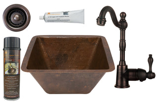 "15"" Square Hammered Copper Bar/Prep Sink, ORB Single Handle Bar Faucet, 2"" Strainer Drain and Accessories"