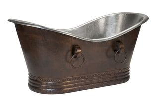 "67"" Hammered Copper Double Slipper Bathtub With Rings - Nickel Interior and Oil Rubbed Bronze Exterior"