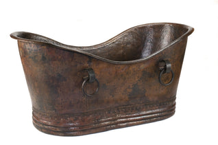 "67"" Hammered Copper Double Slipper Bathtub With Rings"