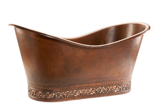 "67"" Hammered Copper Double Slipper Bathtub with Scroll Base and Nickel Inlay"