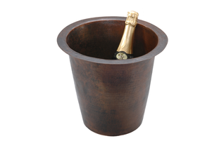 "12"" Round Hammered Copper Champagne Bar/Prep Sink"