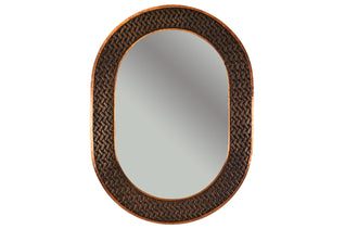 "35"" Hand Hammered Oval Copper Mirror with Decorative Braid Design"