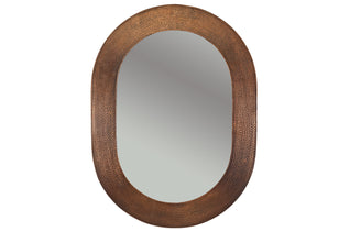 "35"" Hand Hammered Oval Copper Mirror"